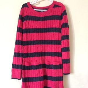 Girls Rugby stripe cable sweater dress